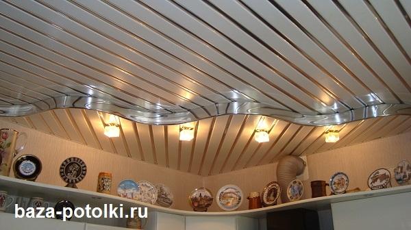 Потолок из пластиковых панелей двухуровневый 59